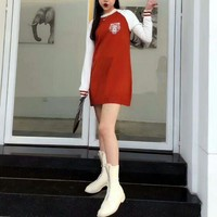 """Kenzo"" Women Casual Fashion Tiger Head Print Multicolor Long Sleeve Knit Sweater Mini Dress"