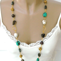 Long Beaded Multi Gemstone Necklace Handcrafted Freshwater Pearls Gold