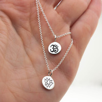 Double Strand Om Necklace - Yoga Jewelry . Sterling Silver Om Pendant & Lotus Flower Pendant . Gift Ideas for Her . Outdoor and Sportsman