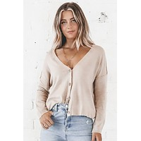 Find A Way Taupe Button Down Cardigan
