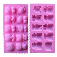 Kawaii DIY 10 Hole Hello Kitty Chocolate Mold Silicone Molds  FDA Safe Ice Cube Mould Cartoon Silicone Mold Chocolate 1502