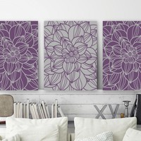 Purple Gray Bedroom Pictures, Flower CANVAS or Prints Purple Gray Bathroom Decor, Flower Wall Art, Set of 3 Floral Home Decor Pictures