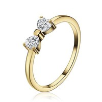 Austria Crystal Rings Gold Plated Finger With Clear CZ Bow Ring For Wo