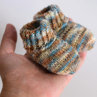 Thin wool socks, newborn socks, brown and turquoise striped, thin wool baby booties, handknit