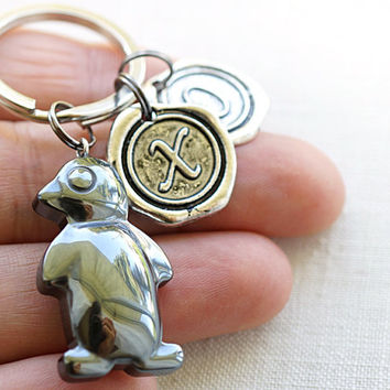 Father's Day Gift, Personalized Keychain, Initial Keychain, Cute Hematite Penguin, Monogram Keychain, Wax Seal, Man Keychain, Gift for man