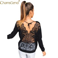 Chamsgend Long Sleeve T Shirt Sexy Floral Lace Hollow Out Backless Women Summer Spring Autumn Shirts Tops Blusa  80122