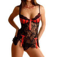 Sexy Erotic Babydoll Lingerie Lace Embroidered
