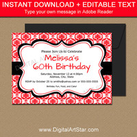 Red and Black Invitation Template, EDITABLE Red Birthday Invitation, Printable Birthday Invite Instant Download - Damask Invitation Template