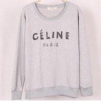 CELINE winter new fresh sweater female loose sets of student bottoming shirt Gray