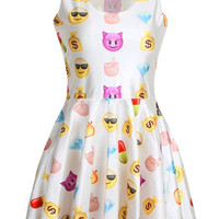 White Emoji Printed Dress