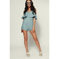 Poppy Striped Romper (Light Denim/Ivory)