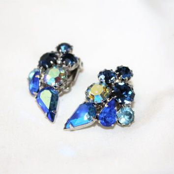 Vintage Weiss Rhinestone Earrings, Vintage Clip On Earrings, Royal Blue Earrings, 1950s Jewelry