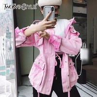 Trendy TWOTWINSTYLE Pink Denim Jacket Female Ripped Rivet Long Sleeve Draw String High Waisr Coat For Women Autumn Fashion Harajuku AT_94_13