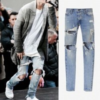Celebrity-Style Men's Ripped and Washed Jeans