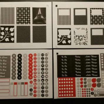 Black, white and red Paris sticker kit. Planner / Calendar stickers for your Erin Condren, Inkwell Press, Plum Paper, Happy Planner, Filofax