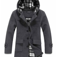 Classic Style Long Sleeve Wool Male Casual Coat Grey M/L/XL @S0Y171-1g $57.99 only in eFexcity.com.
