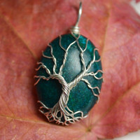 Tree of Life Pendant Sterling Silver Chrysocolla Blue Green Mini Twisted Wire Wrapped Metaphysical Tree Necklace Yggdrasil Celtic Tree