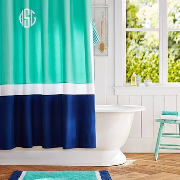 Color Block Shower Curtain, Pool/ Royal Navy