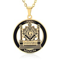 MASON Pillars Lodge Masonic Pendant Necklace