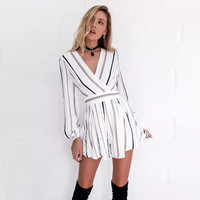 'Tory' Black and Brown Striped Romper