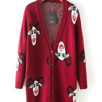 Red Buttondown Long Knitted Cardigan