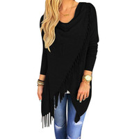 Cape Poncho   Capes And Ponchoes  Oversized Sweater With Tassel Turtleneck Sweater Plus Size XXL