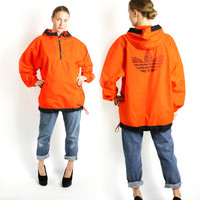 Vintage 90's Adidas Bright Orange Sport Track Jacket, Adidas Windbreaker, Trefoil Rain Jacket