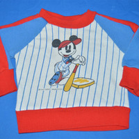80s Mickey Mouse Baseball Stripe Baby Sweatshirt 18 Months