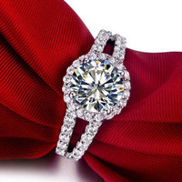 2 CT Center Round Cut NSCD SONA Diamond 14K White GOld Engagement Wedding Ring with a Split Shank Sizes 4.5-10