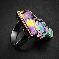 """Bismuth Ring from the """"Element of Eden"""" line on an Adjustable Sterling Silver Ring. Iridescent crystal from a Bismuth Geode."""