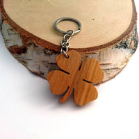 Wooden Four Leaf Keychain, Cherry, Lucky Keychain, Environmental Friendly Green materials