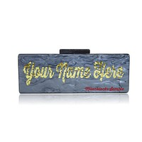 Custom Nameplate Lucite Acrylic Box Clutch Purses-Large Size