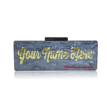 Large size live review custom acrylic name clutch