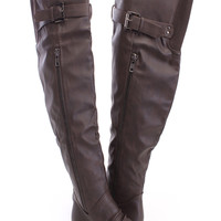 Brown Thigh High Flat Boots Faux