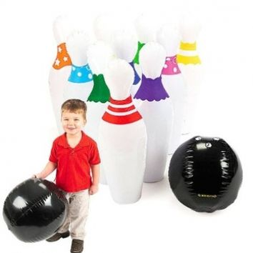 Giant Inflatable Kids Bowling Set Ball & Pins Party Indoor Outdoor