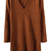 Brown V-neck Long Sleeve Sweater