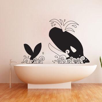 Vinyl Wall Decal Sticker Happy Killer Whale #OS_DC648