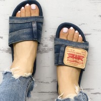 Fashion Denim Open Toe Flat Sandals