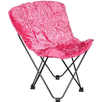 Folding Butterfly Chair with Padded Faux Fur Seat and Carry Bag | Overstock.com