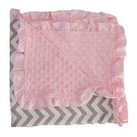 Grey Pink Chevron Ruffe Blanket