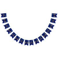 65th Sapphire Wedding Anniversary Gold Typography Bunting Flags