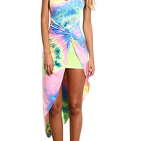 Multi Tie Dye Asymmetric Dress With Open Back