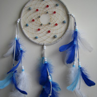 Authentic Native Dreamcatcher,  7 inch diameter, White, Blue, Red, Wall Hanging