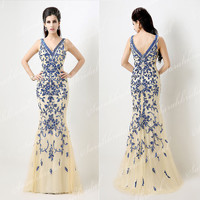 Vintage Sequin Formal Womens Blue Party Evening Cocktail Dresses Prom Ball Military Gown