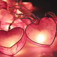 35 Bulbs Pink Heart  - Paper Ball String Lights for Home Decoration,Wedding,Party,Bedroom,Patio and Decoration