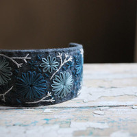 Felt Cuff Bracelet Hand Embroidered Wool with Shades of Blue Stitching by lovemaude
