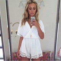 Gold Graceful Women's Lace Deep V Neck Party Sexy Fashion Jumpsuits Rompers