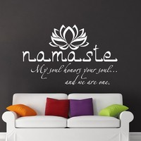 Namaste Wall Decal Quote Vinyl Sticker Decals Quotes Buddha Quote Decal Lotus Flower Wall Decor Bedroom Yoga Studio Decal x152