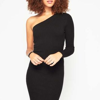 Black One Shoulder Knitted Dress - View All - New In