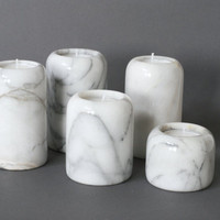 MARBLE Candle Holders, Set of Five, Italian Carrara Marble Candle Holder, White Marble Candleholder, Marble Tea Light Holders, German Swiss